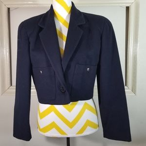 Vintage union made navy wool cropoed blazer  4